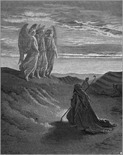 Abraão e os três Anjos as portas do purgatório segundo descrição de Dante Alighieri em 1250